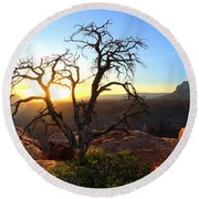 Grand Canyon Gathering The Light Round Beach Towel