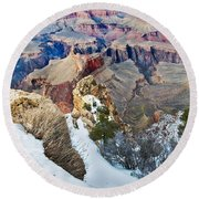 Grand Canyon In February Round Beach Towel
