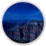 Grand Canyon In Moonlight Round Beach Towel