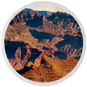 Grand Canyon Navajo Point Panorama At Sunrise Round Beach Towel