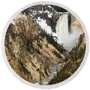 Grand Canyon Of The Yellowstone Round Beach Towel by Michael Chatt
