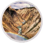 Grand Canyon Of Yellowstone 1 Round Beach Towel