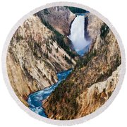 Grand Canyon Of Yellowstone Round Beach Towel by Bill Gallagher