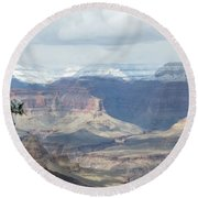 Grand Canyon Shadows And Snow Round Beach Towel