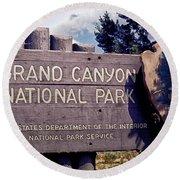 Grand Canyon Signage Round Beach Towel