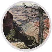 Grand Canyon View Weathered Tree Right Side  Round Beach Towel