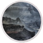 Grand Canyon Watercolor Round Beach Towel