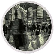 Grand Central Abstract In Black And White Round Beach Towel