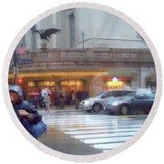 Grand Central Rain - 42nd Street Round Beach Towel