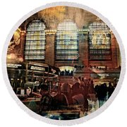 Grand Central Terminal 100 Years Round Beach Towel by Diana Angstadt