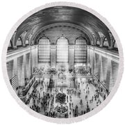 Grand Central Terminal Birds Eye View Bw Round Beach Towel