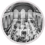 Grand Central Terminal Birds Eye View I Bw Round Beach Towel