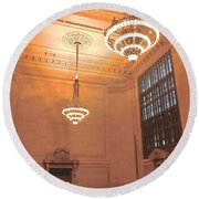 Grand Central Terminal Chandeliers Round Beach Towel