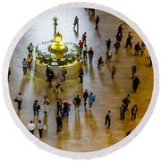 Grand Central Terminal Clock Birds Eye View  Round Beach Towel