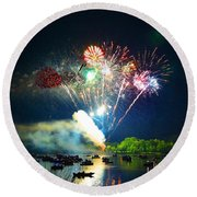 Grand Finale Over The Lake Round Beach Towel