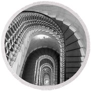 Grand Flora Stairwell Rome Italy Round Beach Towel
