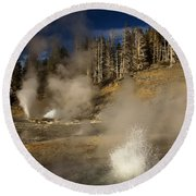 Grand Geyser Group Round Beach Towel