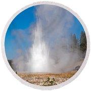 Grand Geyser In Upper Geyser Basin In Yellowstone National Park Round Beach Towel