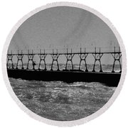 Grand Haven Light In Black And White Round Beach Towel