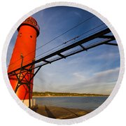 Grand Haven Lighthouse Round Beach Towel by Adam Romanowicz
