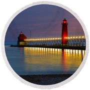 Grand Haven South Pier Lighthouse Round Beach Towel
