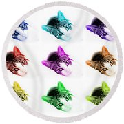 Grand Kitty Cuteness 3 Pop Art 9 Round Beach Towel