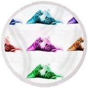 Grand Kitty Cuteness Pop Art 9 Round Beach Towel