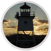 Grand Marais Mn Lighthouse 6 Round Beach Towel
