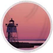 Grand Marais Mn Lighthouse 8 Round Beach Towel