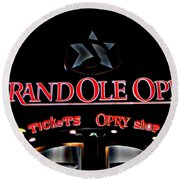 Grand Ole Opry Entrance Round Beach Towel