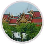 Grand Palace Of Thailand From Waterways Of Bangkok-thailand Round Beach Towel