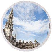 Grand Place In Brussels Belgium Round Beach Towel
