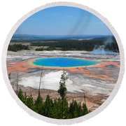 Grand Prismatic Spring From Above Round Beach Towel