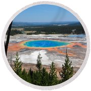 Grand Prismatic Spring From Hillside Round Beach Towel
