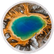 Grand Prismatic Spring II Round Beach Towel