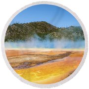 Grand Prismatic Spring - Yellowstone National Park Round Beach Towel