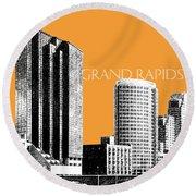 Grand Rapids Skyline - Orange Round Beach Towel
