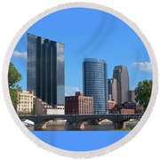 Grand Rapids Riverfront Round Beach Towel