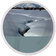 1m9304-grand Teton From Jackson Hole, Winter, H Round Beach Towel