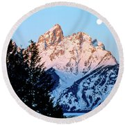 Grand Teton National Park Moonset Round Beach Towel