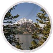 Grand Teton On Jenny Lake - Grand Teton National Park Wyoming Round Beach Towel