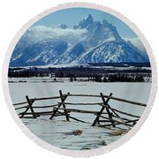 1m9306-grand Tetons From Ranch Country Round Beach Towel