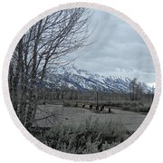 Grand Tetons Landscape Round Beach Towel