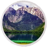 Grand Tetons National Park Painting Round Beach Towel