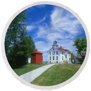 Grand Traverse Lighthouse Round Beach Towel