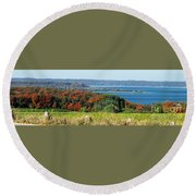 Grand Traverse Winery Lookout Round Beach Towel
