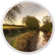 Grand Western Canal At Halberton  Round Beach Towel