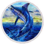 Grander Off007 Round Beach Towel by Carey Chen