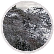 Grandfather Mountain's Linville Peak  Round Beach Towel