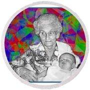 Grandma And Rose Round Beach Towel